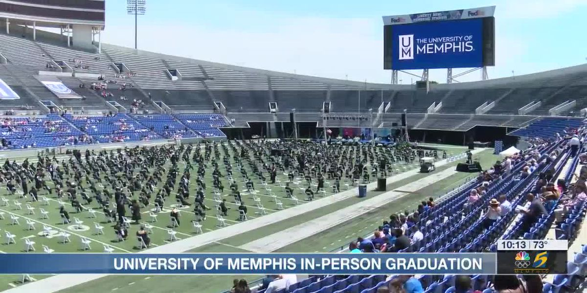 UofM Class of 2021 graduates cross the stage at the Liberty Bowl