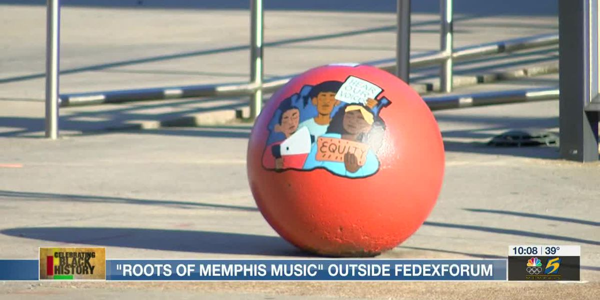 Black history art installation presents 'Roots of Memphis Music' outside FedExForum