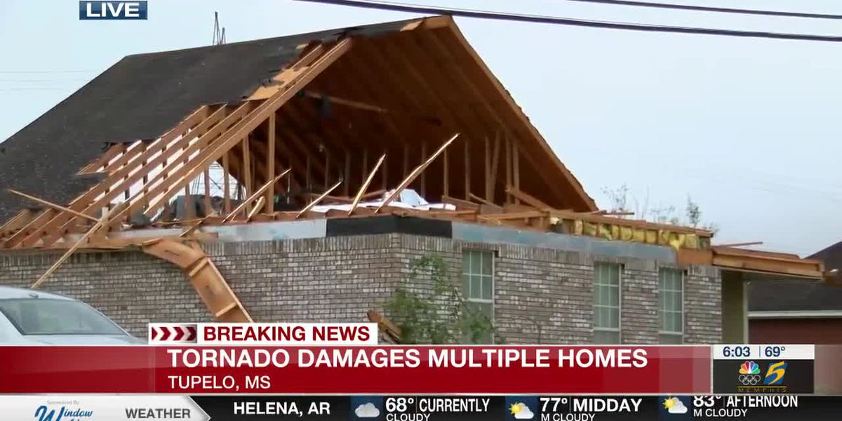 Tornado damages homes in Tupelo late Sunday night
