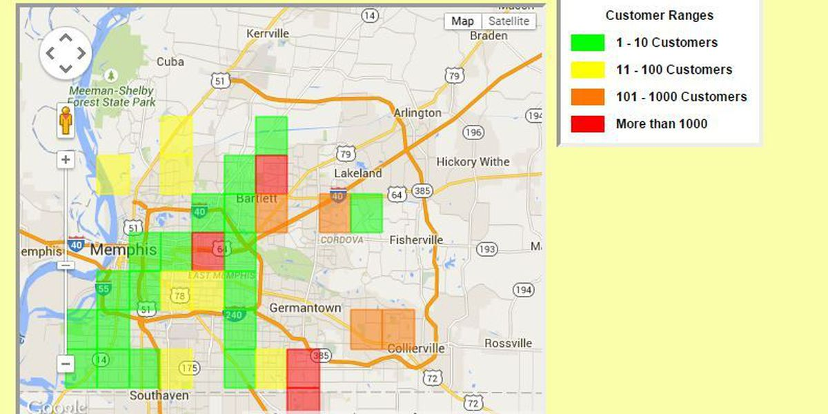 Power outages throughout Memphis