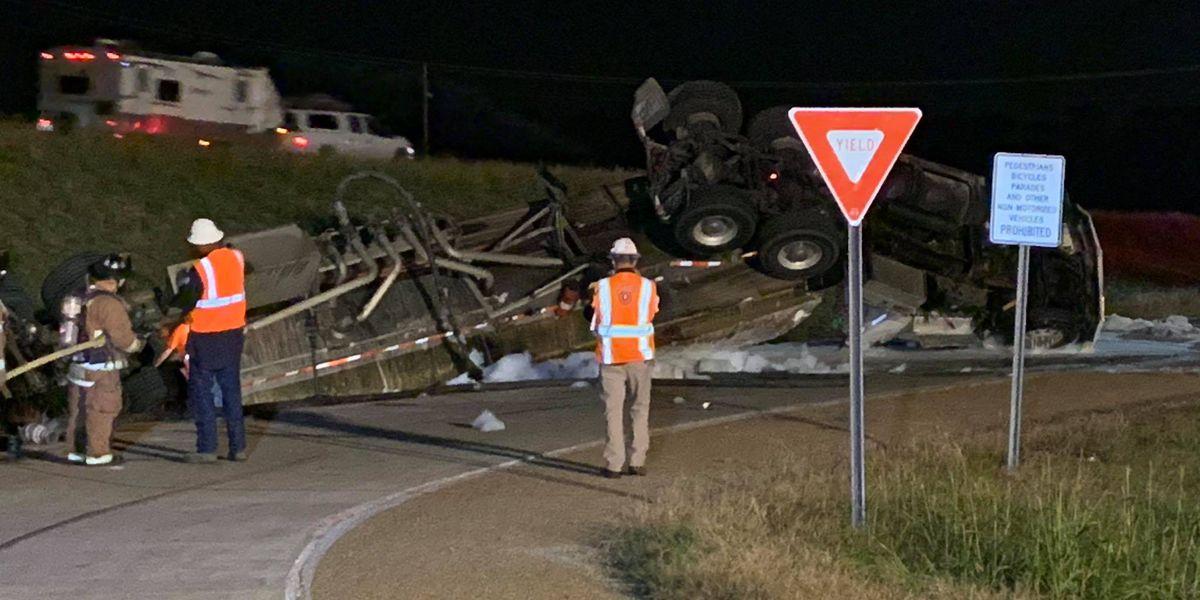 Traffic blocked off after 18-wheeler overturns, spills 3,000 gallons of fuel