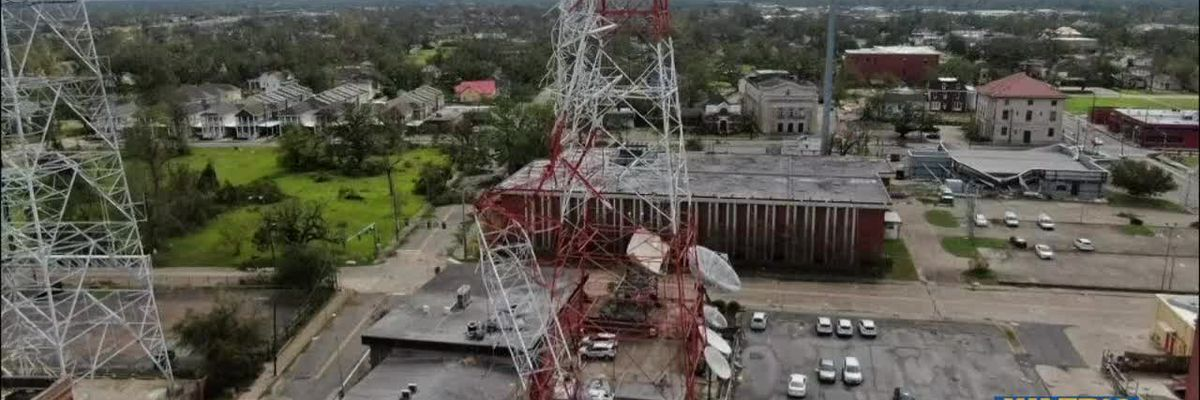 Tower falls on KPLC-TV after staff evacuated before Hurricane Laura made landfall