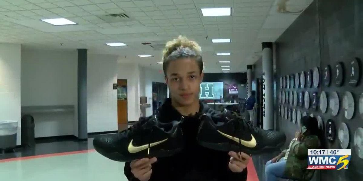 Memphis teen gift Kobe Bryan't autographed game shoes
