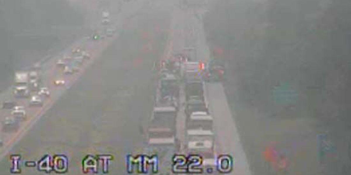Crash closes I-40 westbound near Canada Road