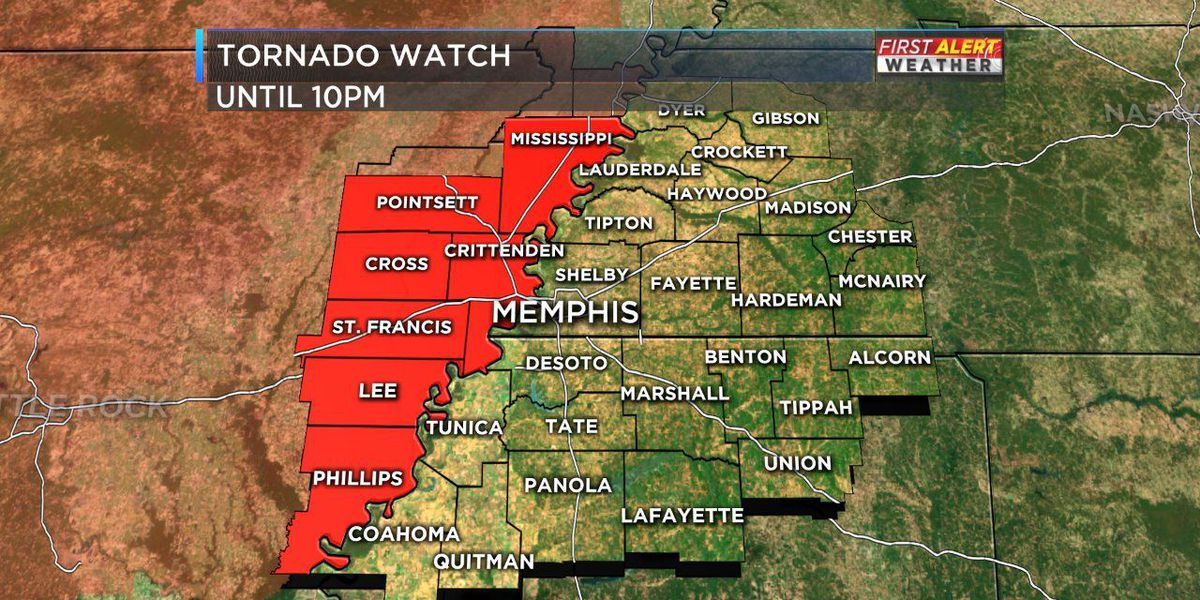 Tornado watch issued until 10 p.m. for parts of the Mid-South