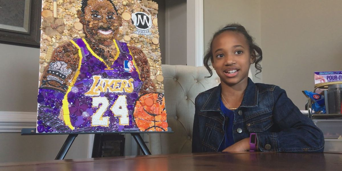 10-year-old makes portrait of NBA legend using recycled materials