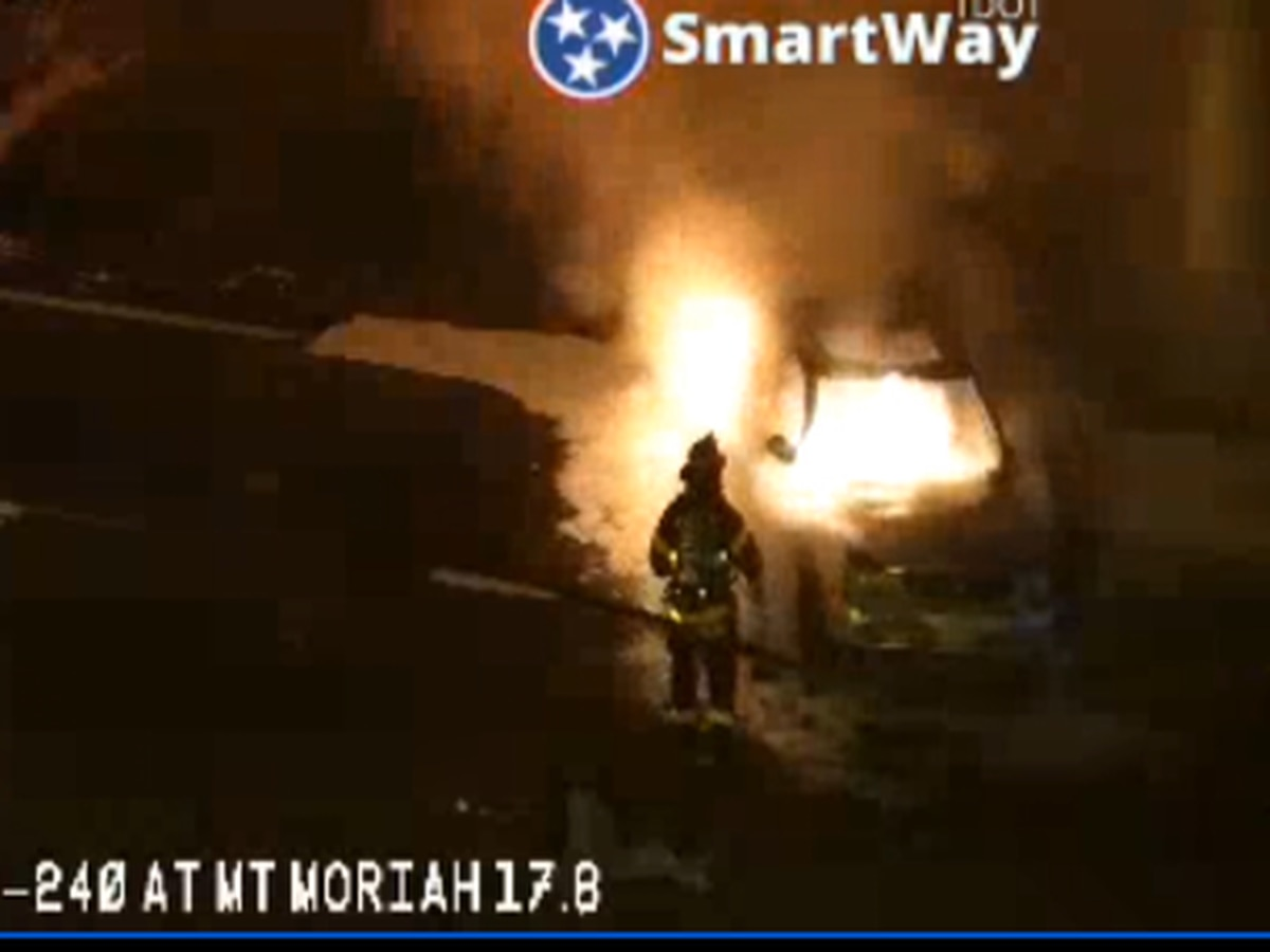 Lanes reopen after car fire shuts down traffic on I-240