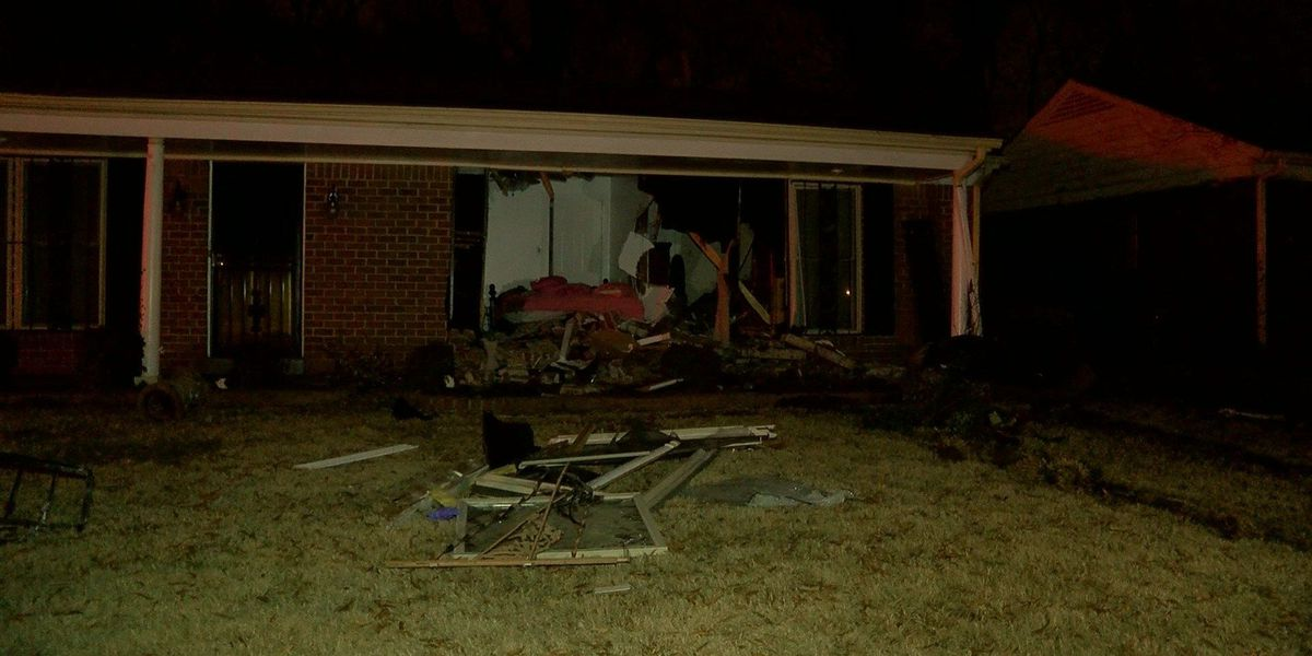 Car crashes into home, hits sleeping children's bed