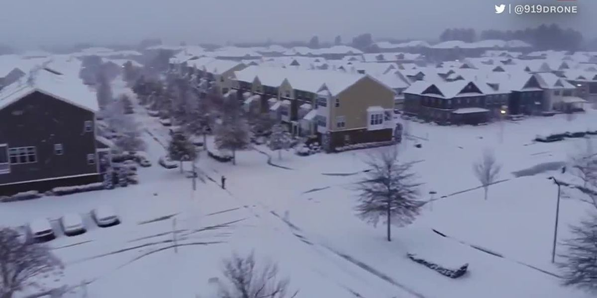 Snow piles up across the Southeast