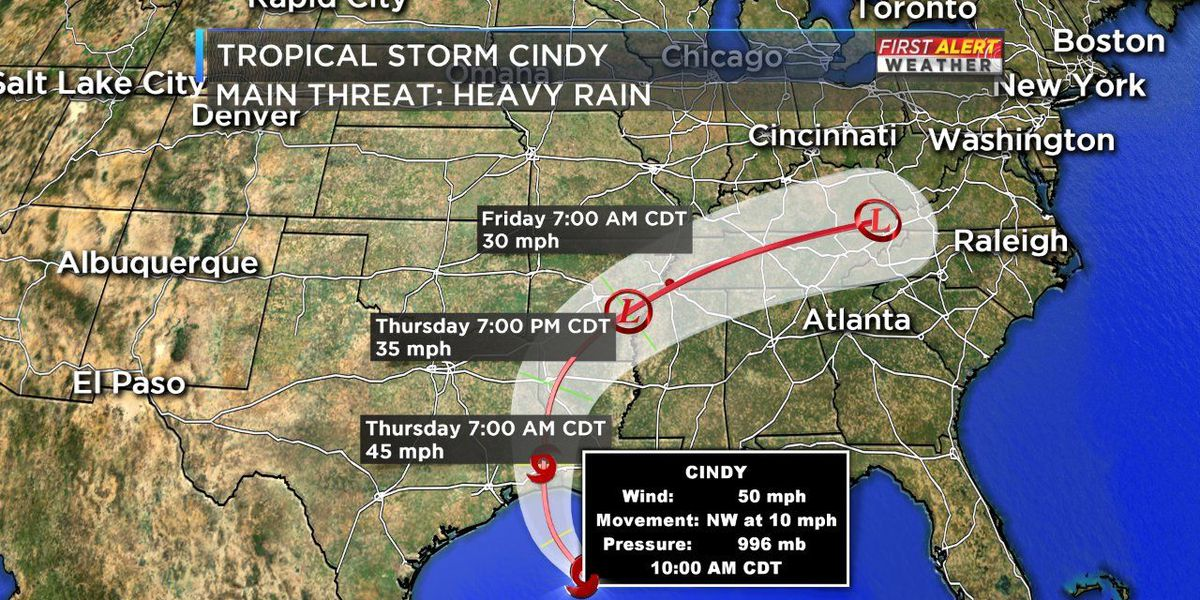 Tropical Storm Cindy will soak Mid-South