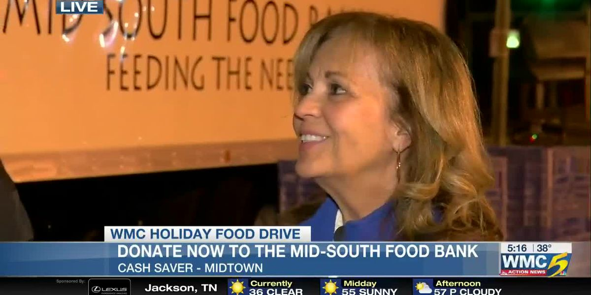 Talking food drive with Cathy Pope at Midtown Cash Saver