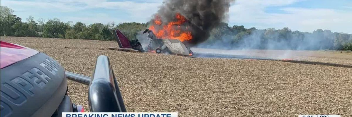 Pilot okay after plane crashes, burns in Fayette Co.