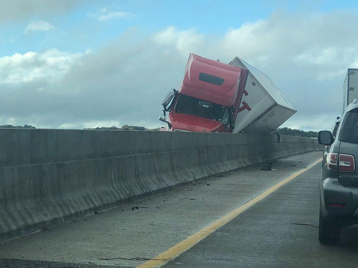 Winds overturn 7 semi-trucks on I-40, THP working to clear roadway