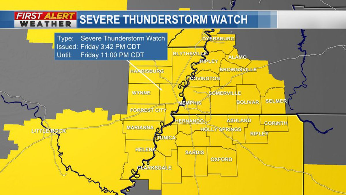 Severe Thunderstorm Watch issued for parts of the Mid-South