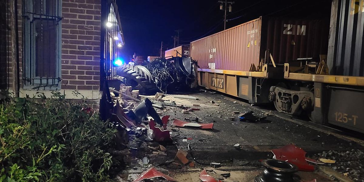 Train collides with semi in Dyer County, damages nearby museum