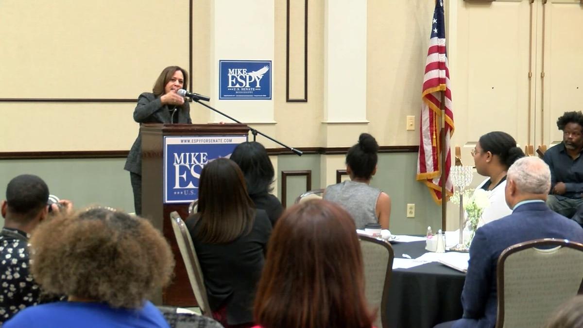 Senator Kamala Harris campaigns for Mike Espy ahead of runoff election