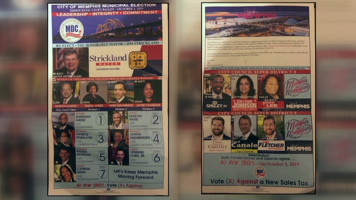 Shelby Co. Democratic Party warning voters of fake sample ballots mailed out weeks before Memphis municipal election