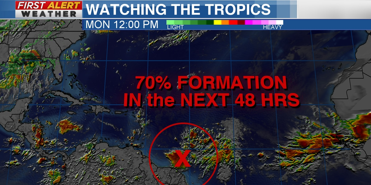 Watching an area in the Atlantic for tropical development & Hurricane Douglas in the Pacific