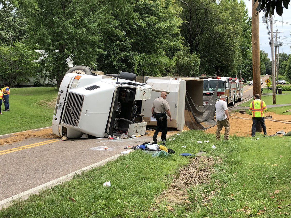 Driver airlifted to hospital after dump truck overturns in Shelby County