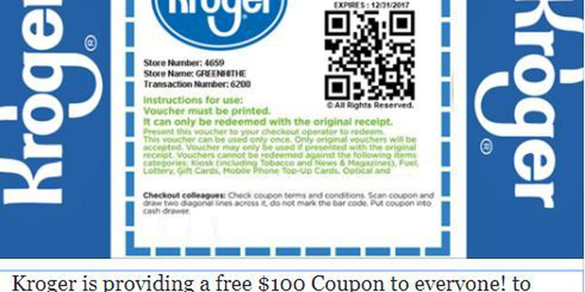 Scam promises $100 coupon for groceries