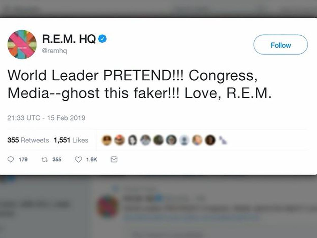 R.E.M. blasts Trump for retweeting video using song 'Everybody Hurts' to mock Democrats
