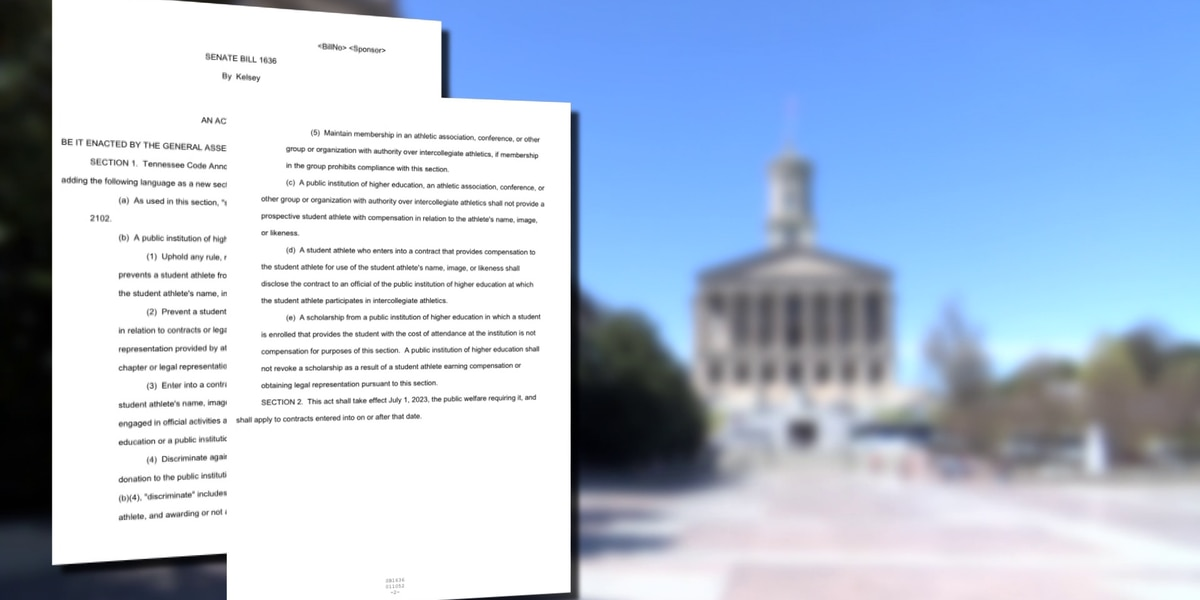 Tenn. lawmaker files bill allowing college athletes to be compensated for advertising