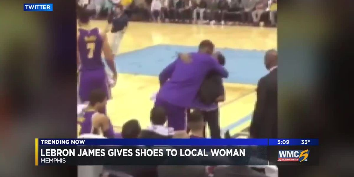 Lebron James gives shoes to local woman