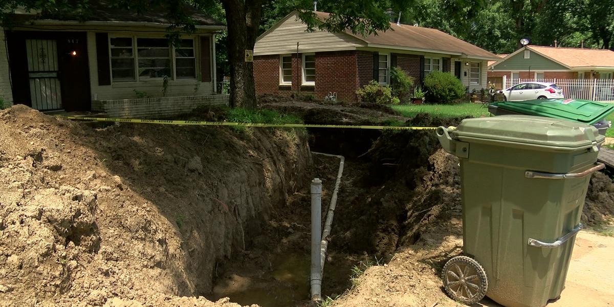Neighbors upset over deserted plumbing work