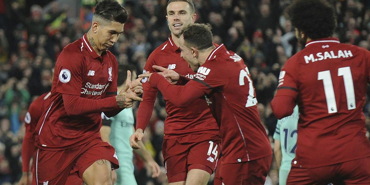 Firmino helps rampant Liverpool open 9-point lead in EPL