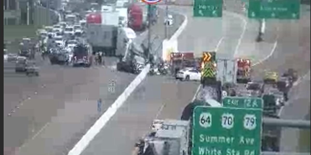 Crash leaves tractor-trailer overturned on I-40 at Covington Pike