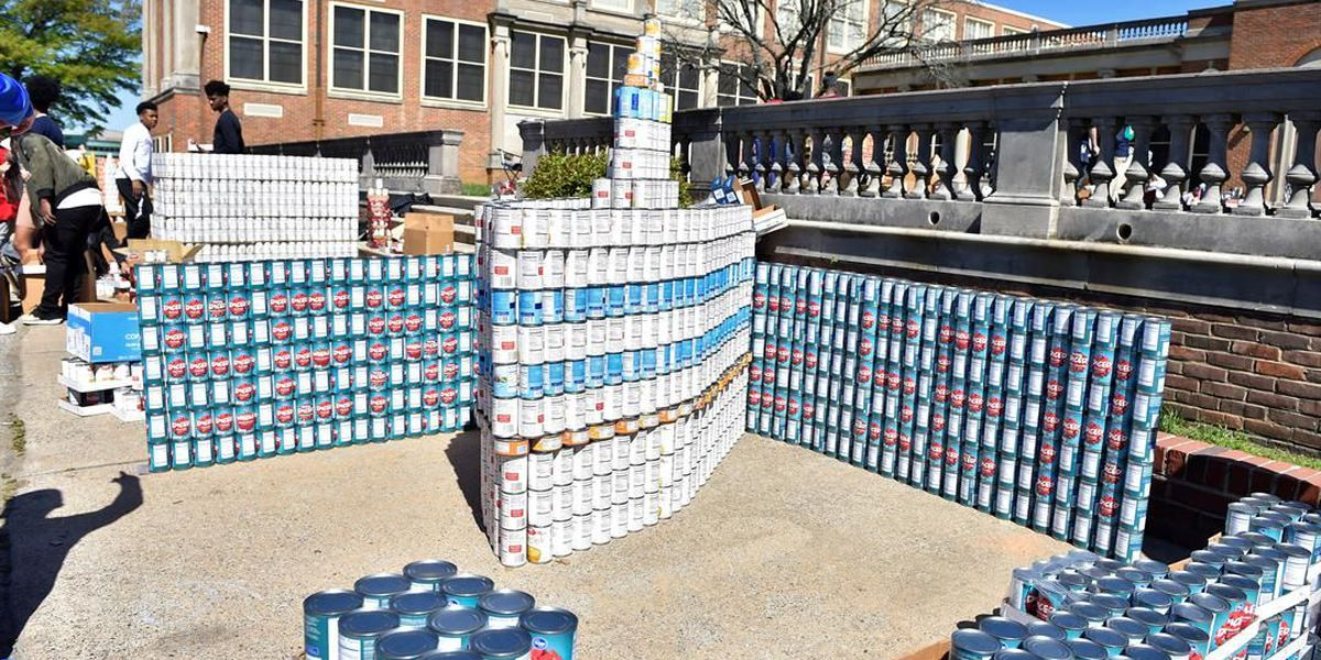 Students build masterpieces with canned goods