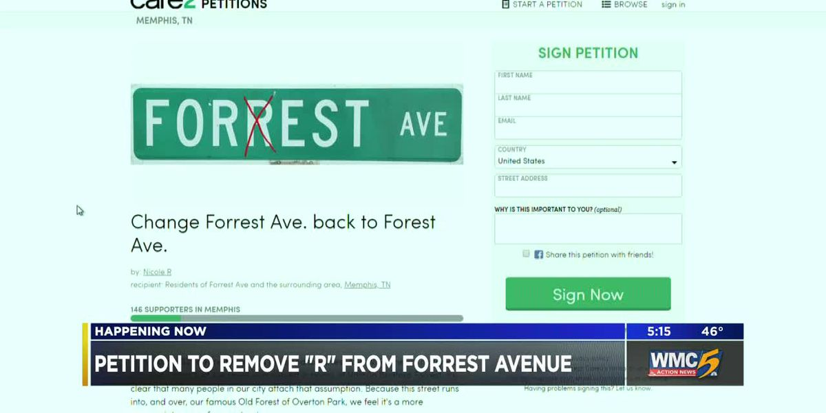 "Petition to remove ""R"" from Forrest Avenue"