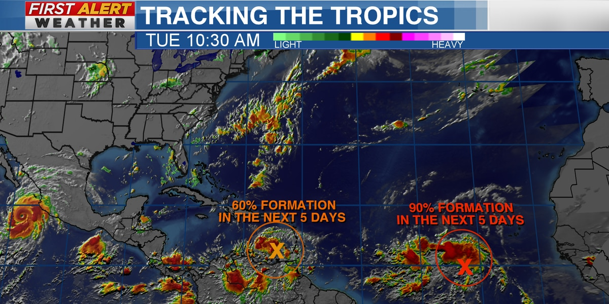 Watching two areas in the Tropics