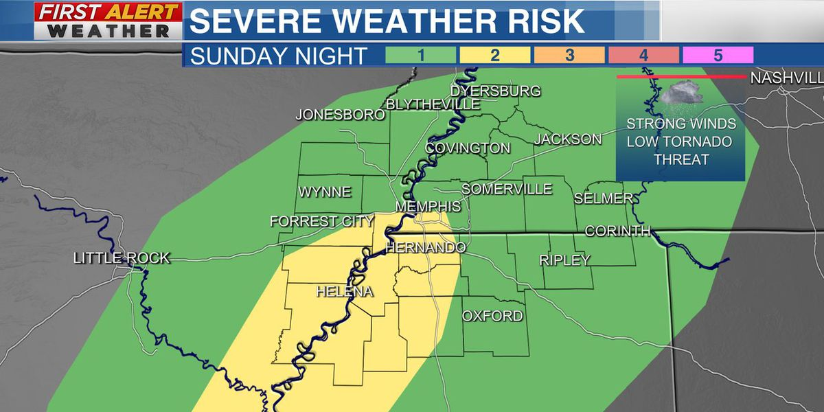 Strong thunderstorms possible Sunday night