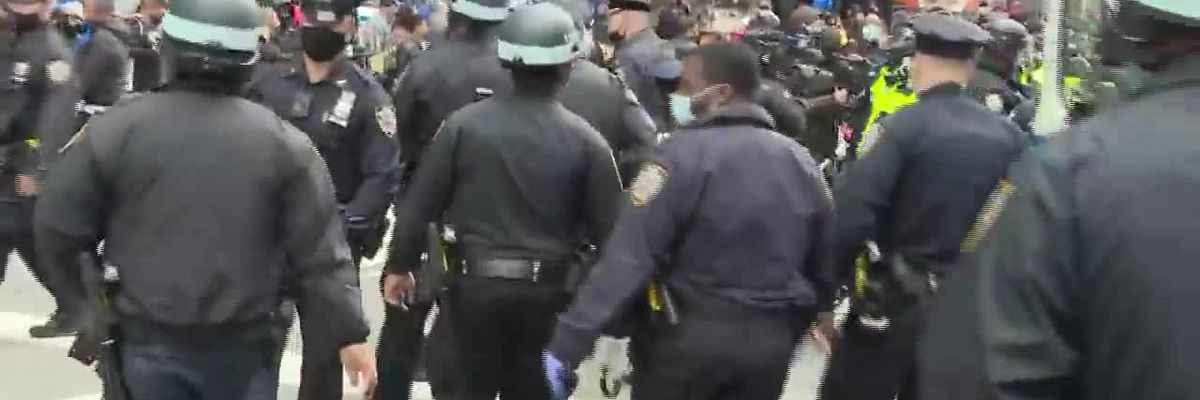 Protesters clash in Times Square (no sound)
