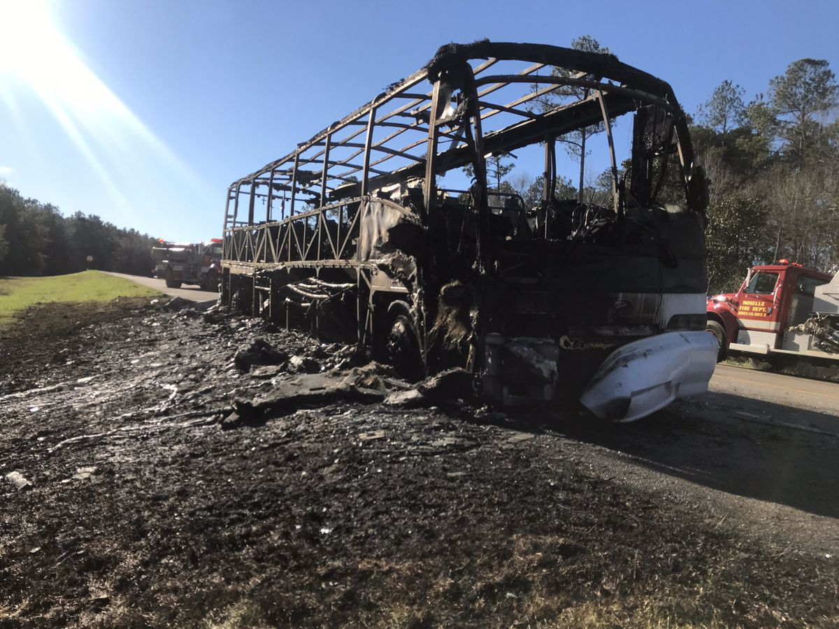 Charter bus from Ala. burst into flames on U.S. I-59
