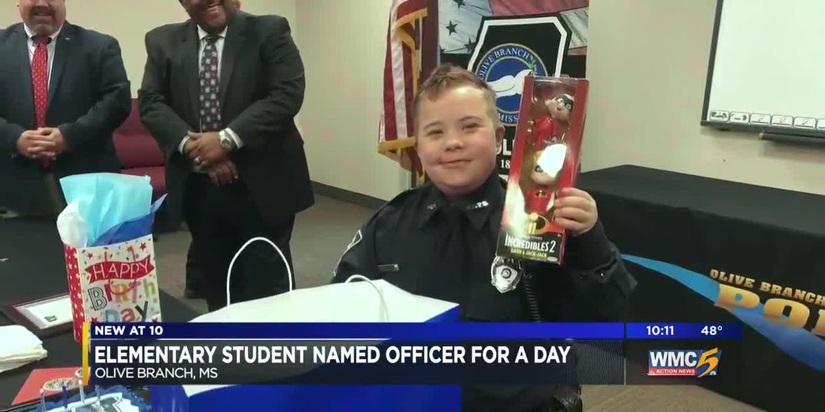 Olive Branch student becomes honorary police officer for his birthday