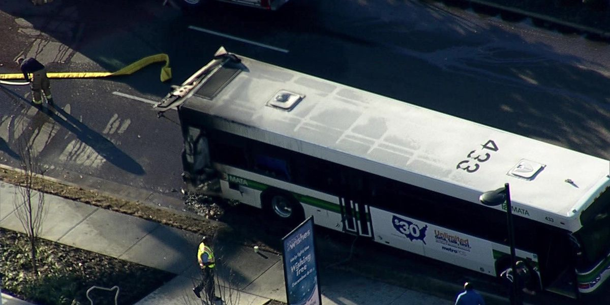 MATA bus catches fire, closes Germantown street