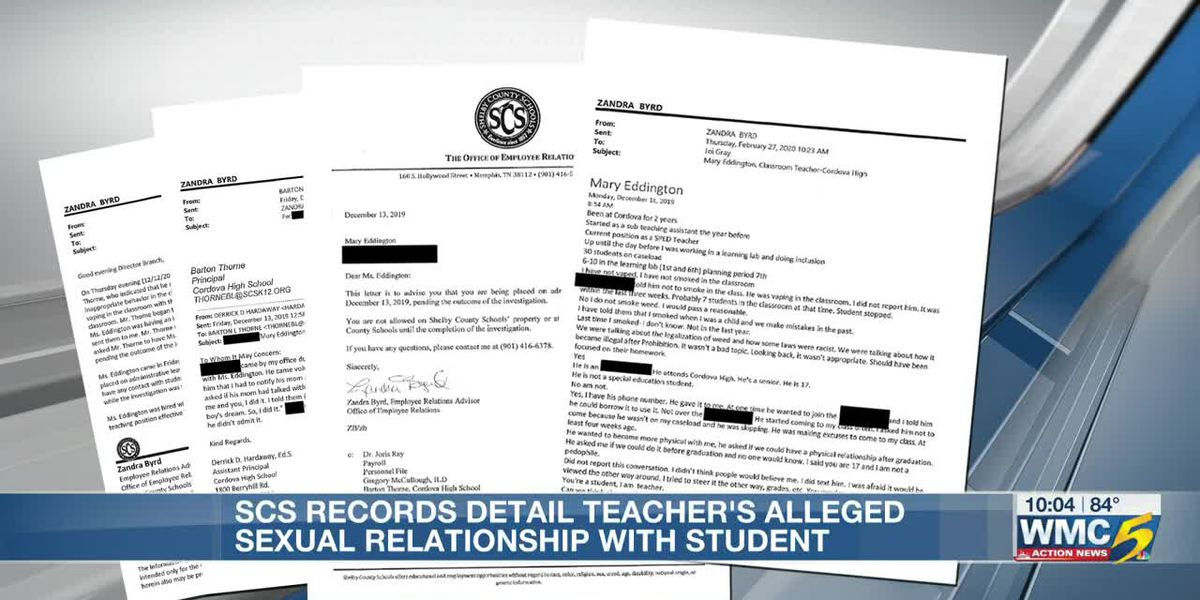 SCS records detail teacher's alleged sexual relationship with student