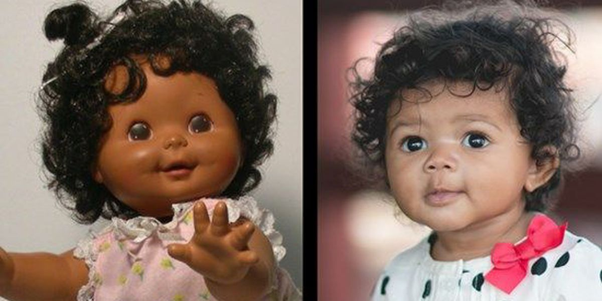 Baby turns heads with her baby doll resemblance