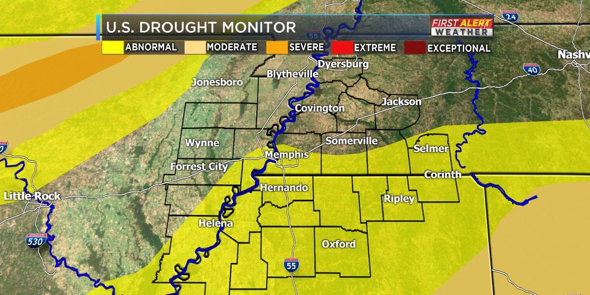Parts of the Mid-South abnormally dry