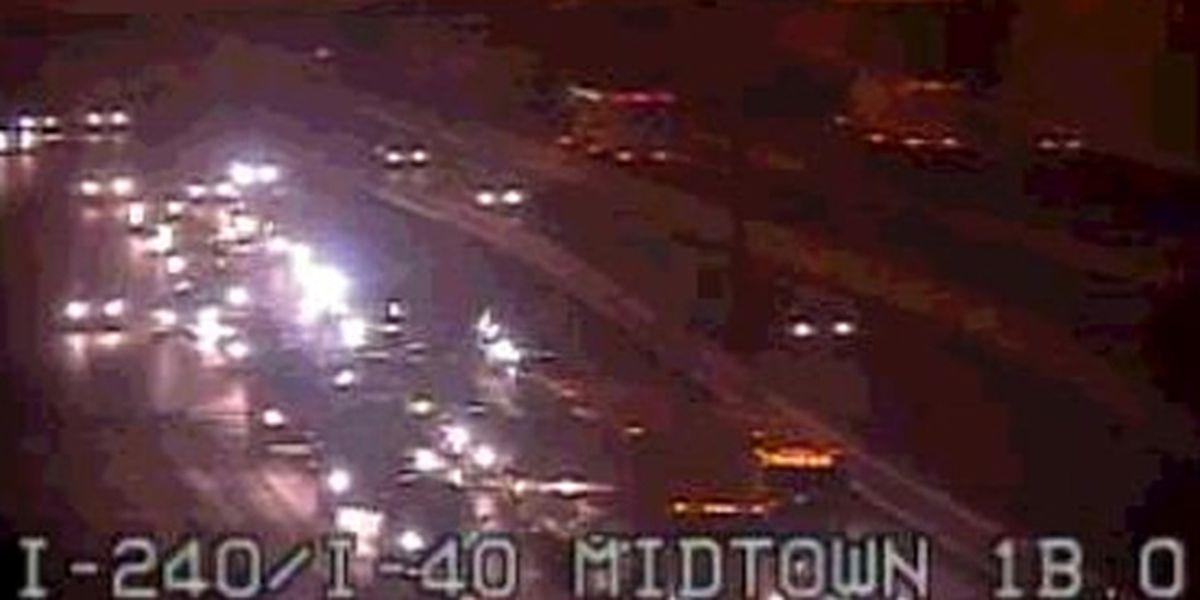 Overturned car blocks I-240 traffic