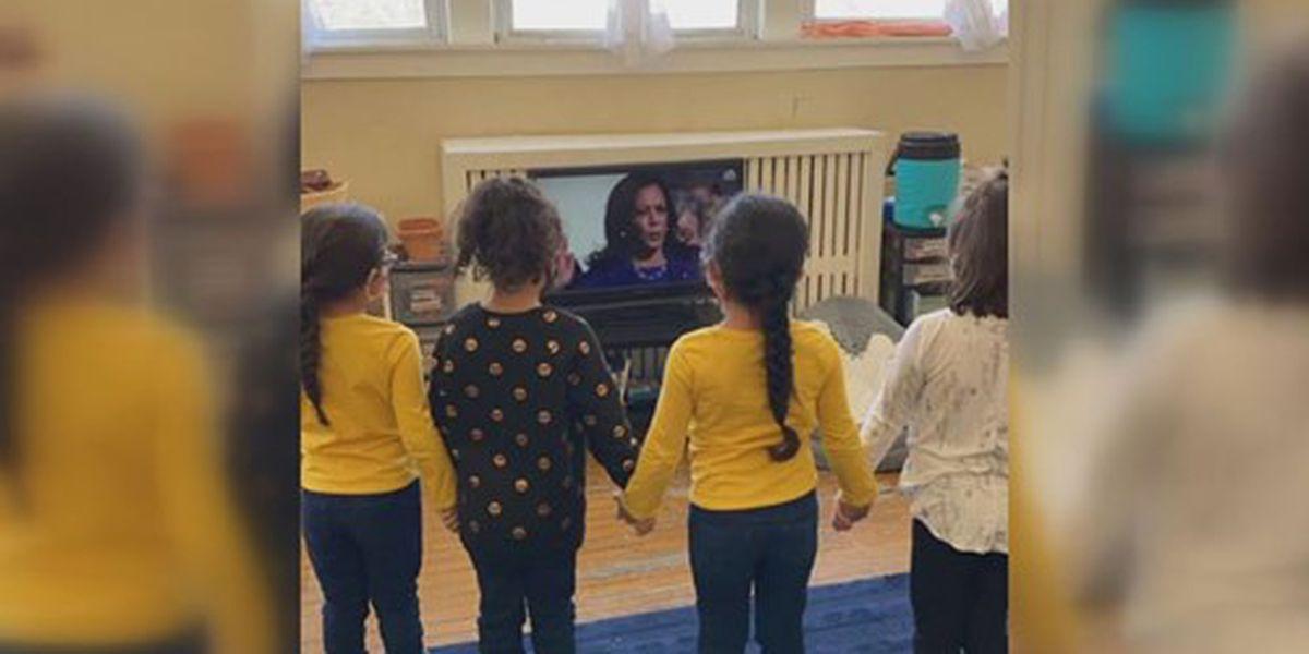 Kindergartners stand in solidarity, inspired by swearing-in of Vice President Kamala Harris