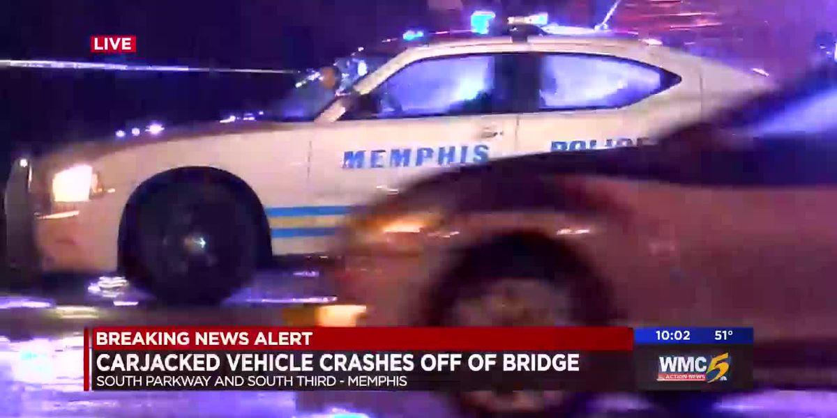 Carjacked vehicle crashes off of bridge