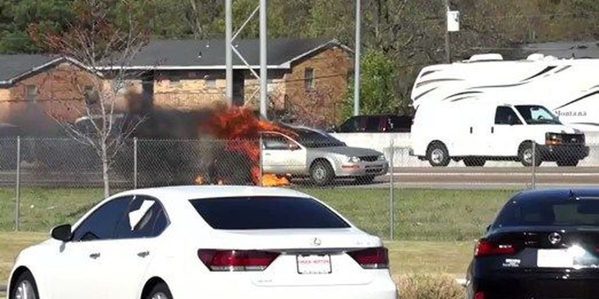 Flames engulf car at I-55 and Shelby Drive