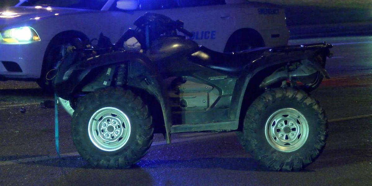 Driver of stolen ATV injured in crash