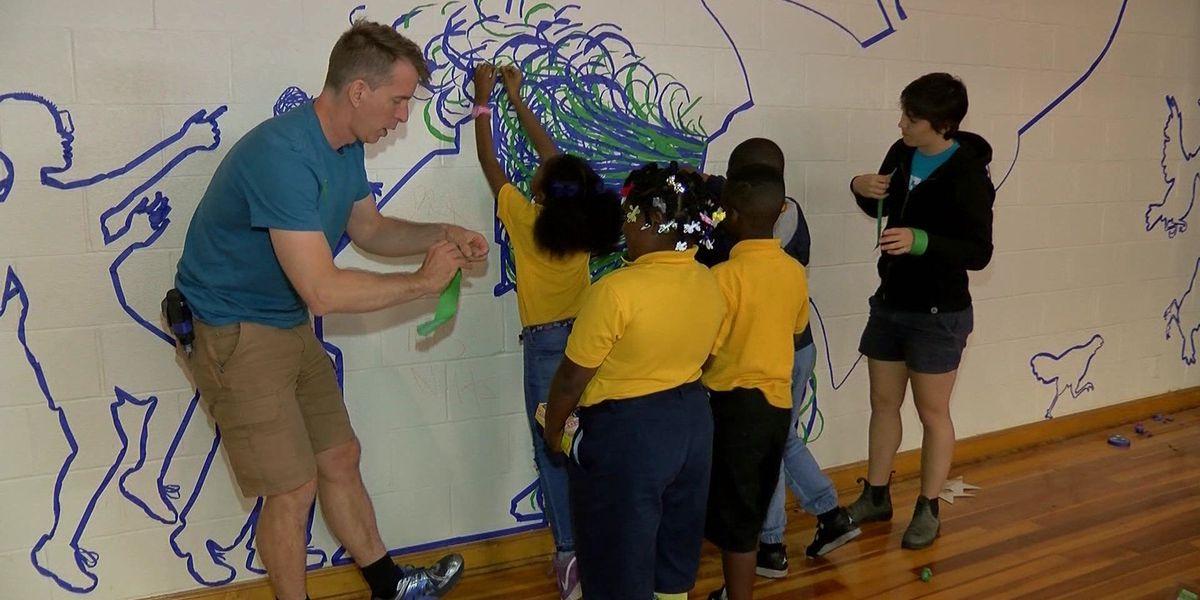 Tape Art murals inspire elementary students