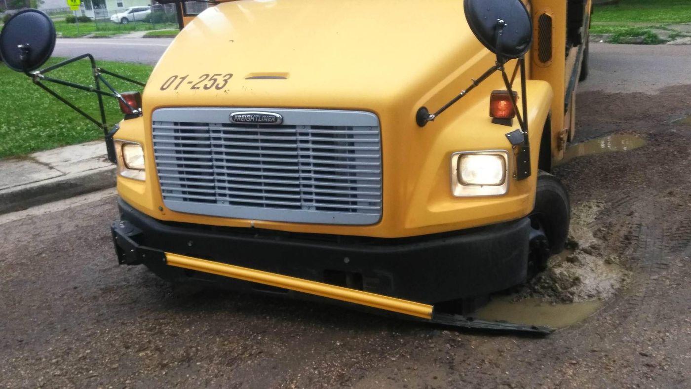 "This is so Jackson"": School bus full of kids gets stuck in"