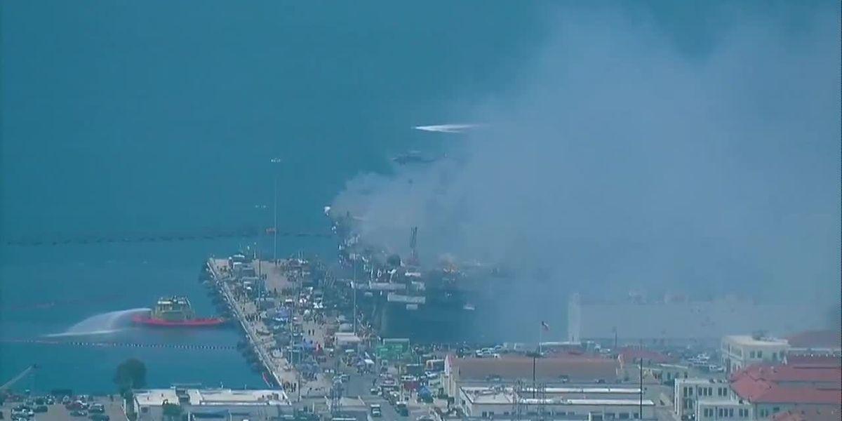 Navy: Progress on warship fire, but ship's fate uncertain