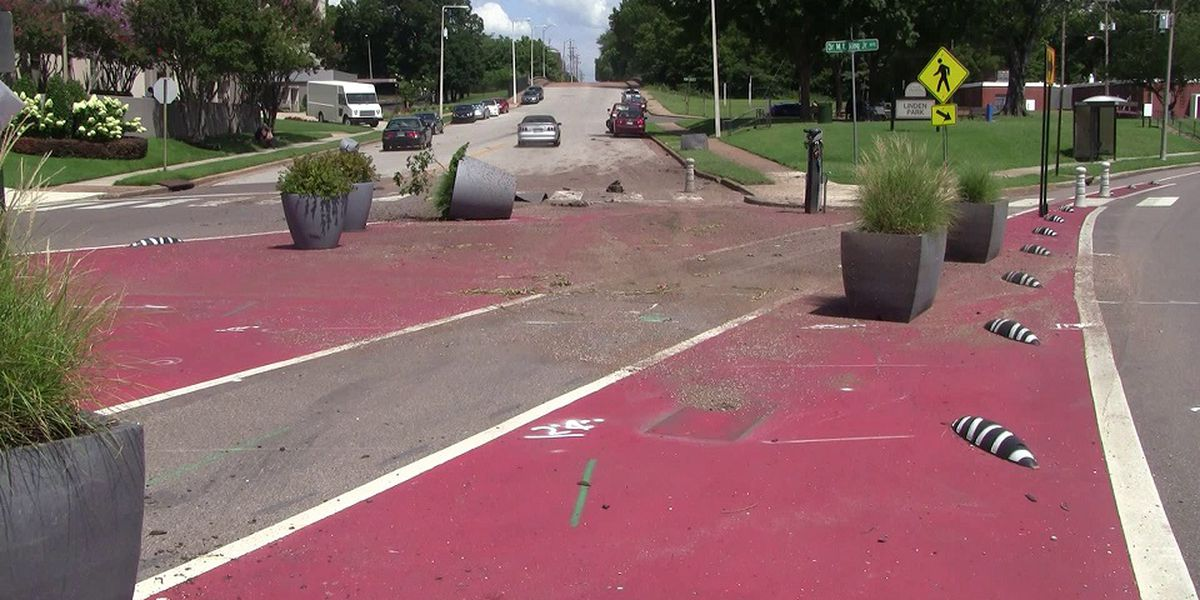 Streetscape project damaged in high-speed crash